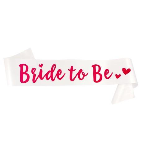 Schärpe Bride To Be JGA Junggesellinnenabschied Hen Party Herzen weiß