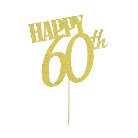 Torten Topper Kuchen Muffin Aufsatz Happy 60th Geburtstag Jubliäum Deko