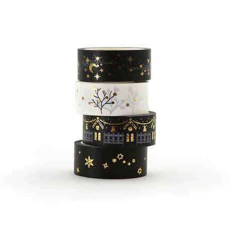 Washi Tape Set Dekobänder Scrapbooking goldene Motive - schwarz-weiss