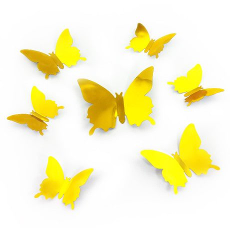 3D Schmetterlinge 12er Set Wandtattoo Wandsticker Wanddeko - gold