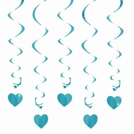 5 Girlande Spiral Deckenhänger mit Herz - türkis