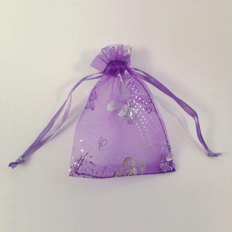 Organzasäckchen Organzabeutel Säckchen Organza lila Schmetterlinge