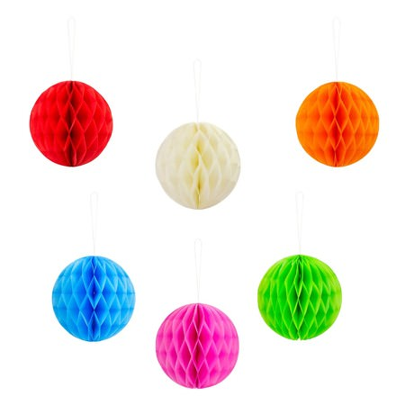 6 Wabenbälle Honeycomb Balls Papier Hochzeit Geburtstag Party Deko 14,5cm - bunt