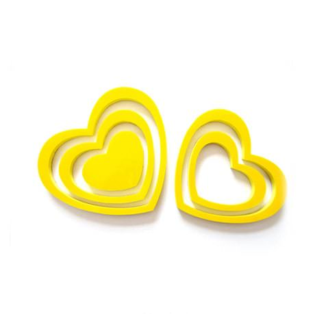3D Herzen 5er Set Wandtattoo Dekoration 3D Deko - gelb