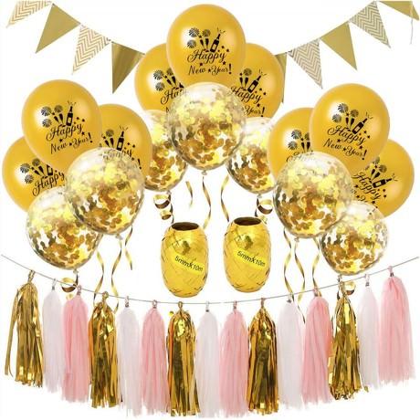 Happy New Year Silvester Neujahr Party Feier Deko Set - gold weiß rosa