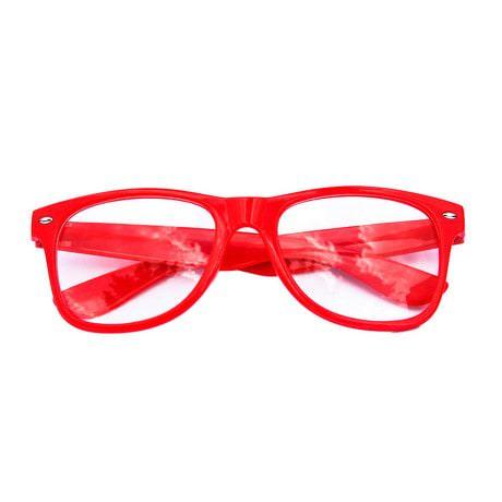 Nerdbrille Hornbrille 80s Retro Nerd Streber Brille - rot