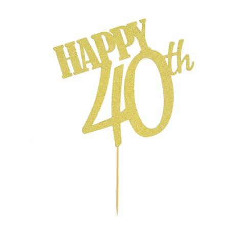 Torten Topper Kuchen Muffin Aufsatz Happy 40th Geburtstag Jubliäum Deko
