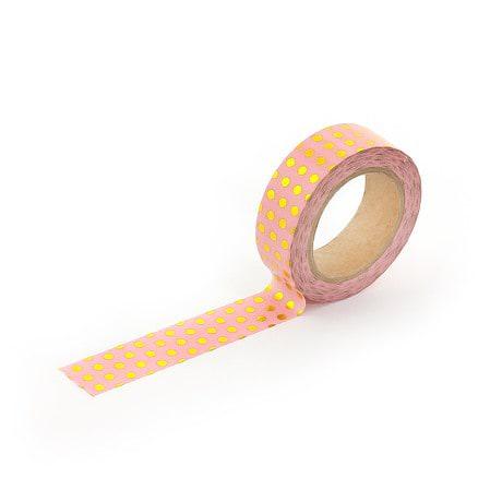 Washi Tape Dekobänder Scrapbooking selbstklebend - rosa Goldpunkte