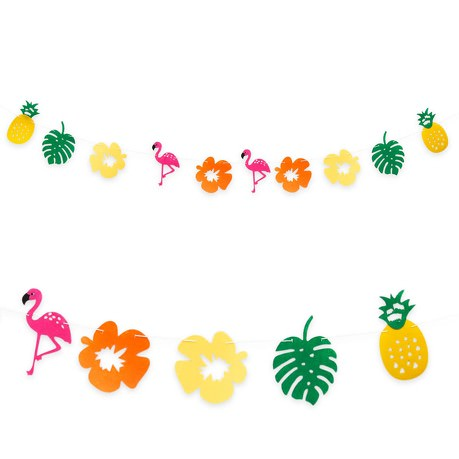 Hawaii Girlande Sommer Party Deko Banner mit Flamingos Ananas Blumen