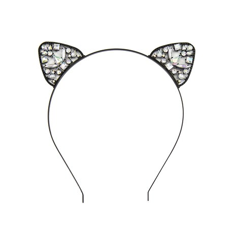 Haarreifen Katzenohren Metall Haarreif für Fasching Karneval schwarz