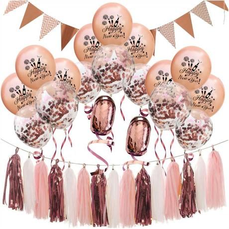 Happy New Year Silvester Neujahr Party Feier Deko Set - roségold weiß