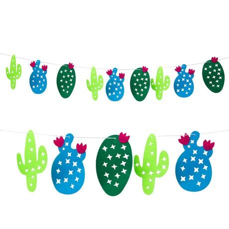 Kaktus Girlande mit 9 Kakteen - 1,5m - Motto Strand Beach Garten Party