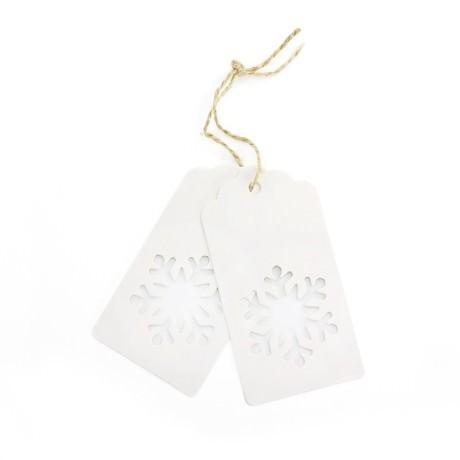20 Geschenkanhänger Weihnachtsbaum Deko Anhänger - weiß Schneeflocke