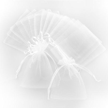 Organzasäckchen Organzabeutel Schmuckbeutel Säckchen Organza - weiß