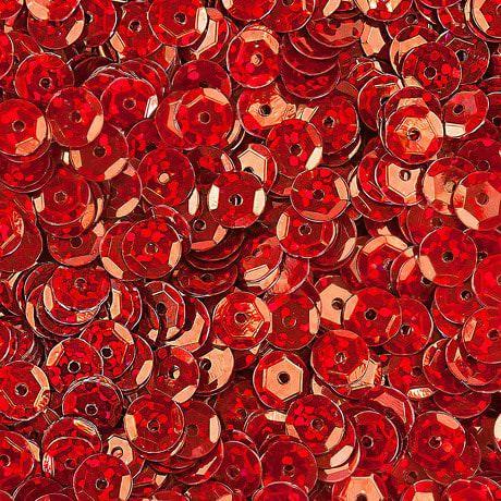 1400 Pailletten Konfetti gewölbt - rot Glitzereffekt