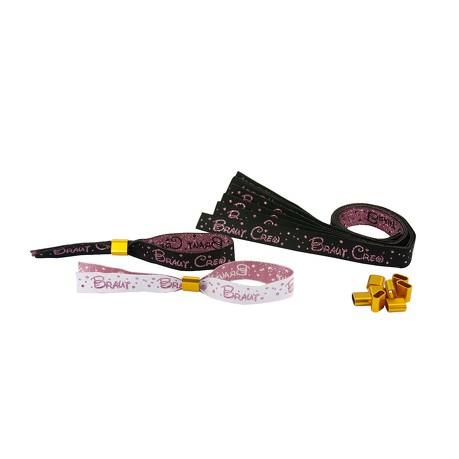 JGA Armbänder Set 1x Braut - 9x Braut Crew Junggesellinnenabschied schwarz weiß rosé gold