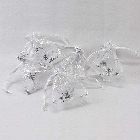 Organzasäckchen Organzabeutel Schmuckbeutel weiß Schneeflocken