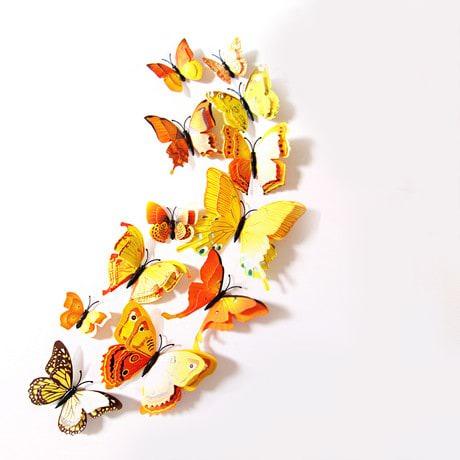 3D Schmetterlinge 12er Set Wandtattoo Wandsticker Wanddeko - gelb