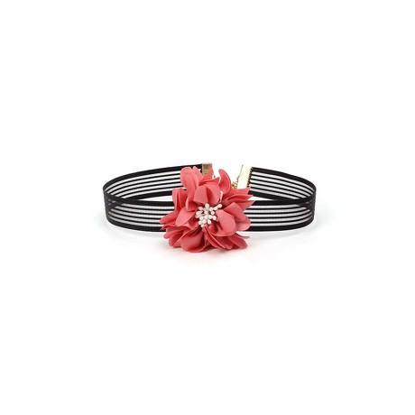 Halsband Halskette Damen Mädchen Kette Choker Blumen Spitze - schwarz rot