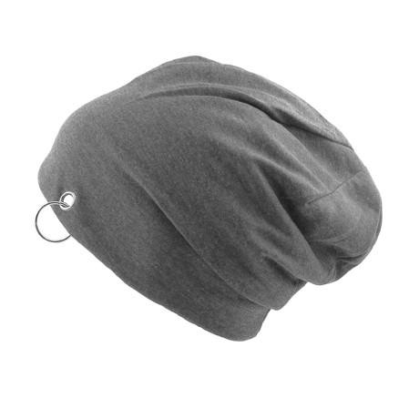 Long Beanie Jersey Mütze Slouch XXL Mützen - grau mit Ring