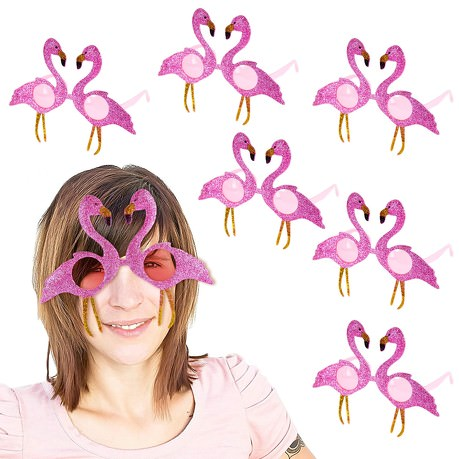 6x Flamingo Brille für JGA Hawaii Sommer Party Accessoire Fasching Karneval Kinder Geburtstag