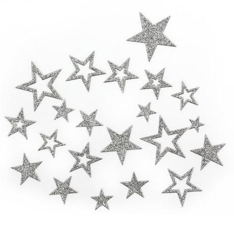 20 Glitzernde Funkelnde Sterne Sticker Aufkleber - silber