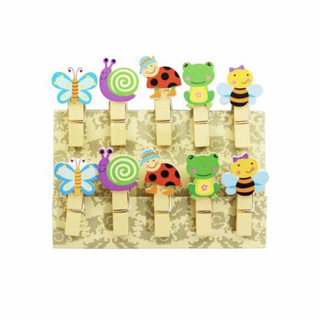 10 Mini Wäscheklammern Holz Miniklammern Deko Klammern - Tiere
