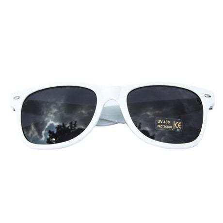 Nerdbrille Hornbrille 80s Retro Nerd Streber Sonnenbrille - weiß
