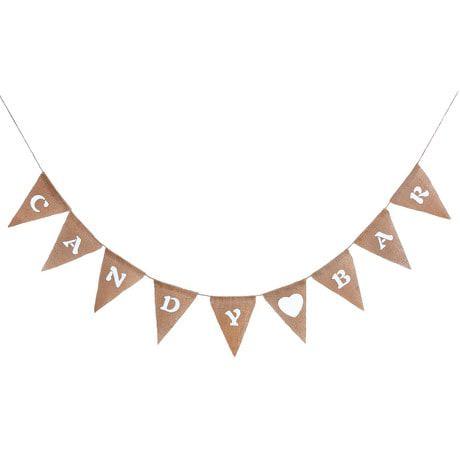 Candybar Hochzeit Geburtstag Party Girlande Banner - Jute