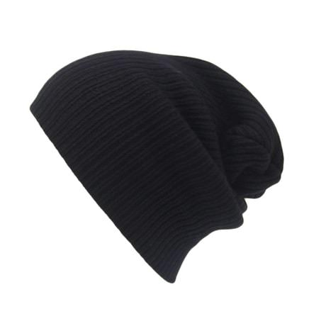 Long Beanie Mütze XXL Damen Herren Kinder Winter Mütze - schwarz