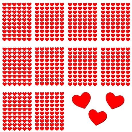 600 Herz Sticker Aufkleber Glänzend Selbstklebend Scrapbooking - rot