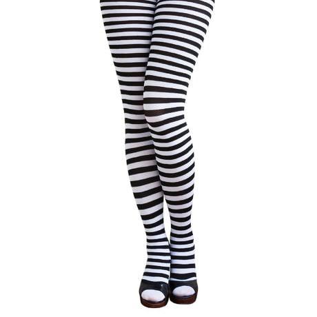 Ringel Strumpfhose Sexy Kostüm Karneval  - schwarz weiss gestreift