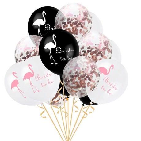 Bride to be Flamingo Konfetti Luftballon Set 15 Stk JGA Hochzeit Ballons