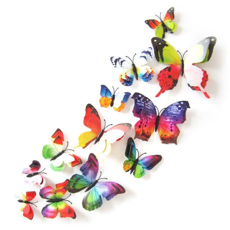 3D Schmetterlinge 12er Set Wandtattoo Wandsticker Wanddeko -Regenbogen