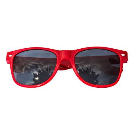 Nerdbrille Hornbrille 80s Retro Nerd Streber Sonnenbrille - rot