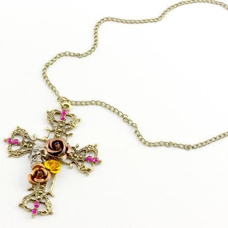 Kreuz Halskette Anhänger Rosen Kette Vintage Retro Gothic Schmuck