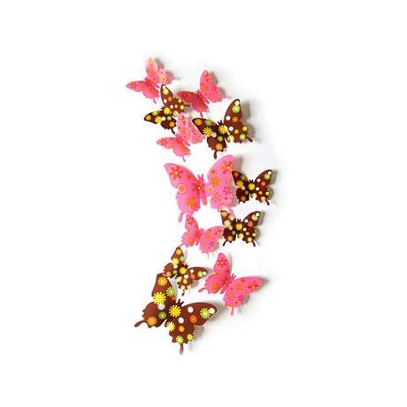 3D Schmetterlinge 12er Set Wandtattoo Wandsticker Wanddeko - Blume