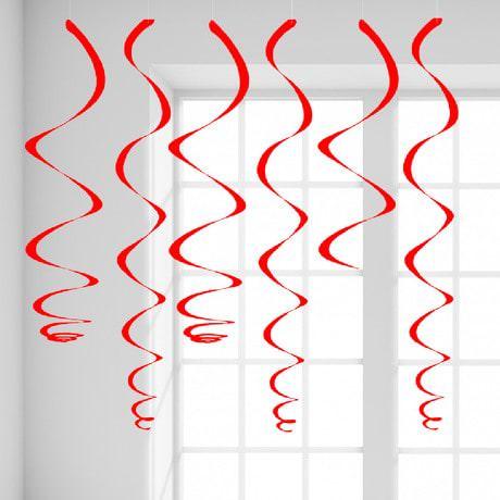 12 Wirbel Deckenhänger Girlande mit Bänder und Ösen - rot
