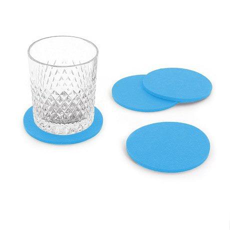 4 Filz Untersetzer Glasuntersetzer rund - hellblau