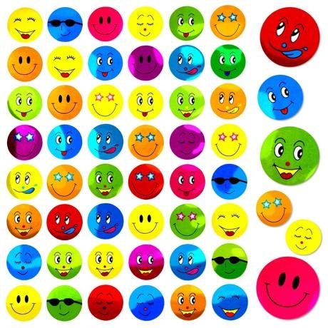 480 Smiley Sticker Aufkleber Face Lächeln Frech Positiv - bunt