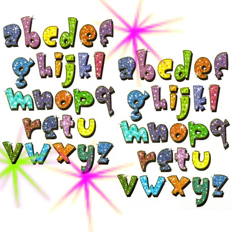 ABC Buchstaben Tattoo Set mit Glitzereffekt 52 Stk Kinder Geburtstag