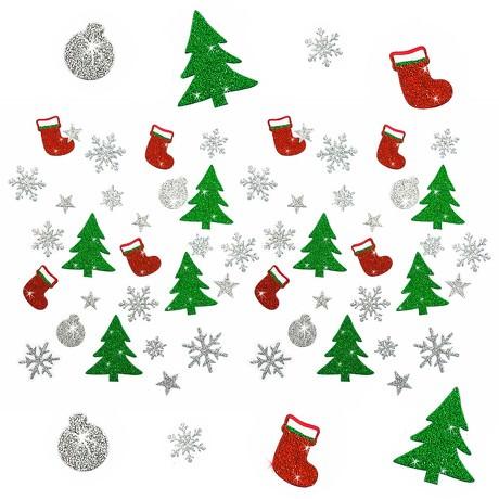 54 Weihnachts Sticker Aufkleber Glitzernd Funkelnd - Weinachten Mix