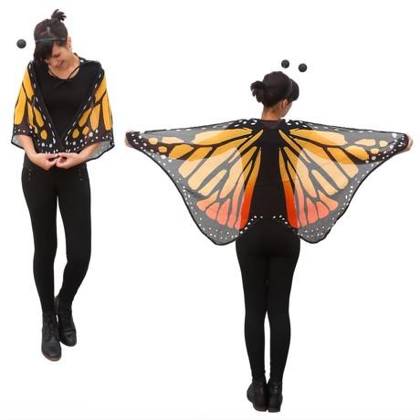 Schmetterlingsflügel Umhang Schmetterling Kostüm Karneval -gelb orange