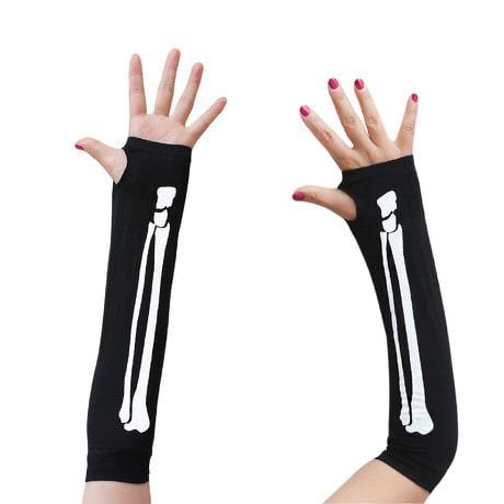 Skelett Handschuhe Armlinge fingerlos Halloween Kostüm Karneval