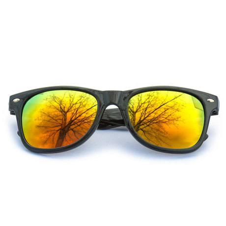 Nerdbrille Hornbrille 80s Retro Nerd Streber Sonnenbrille - rot-gold