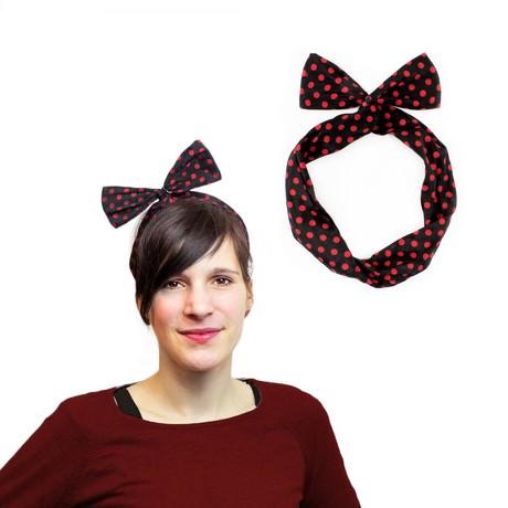 Haarband Stirnband gepunktet Haarschmuck Kopfschmuck - rot schwarz