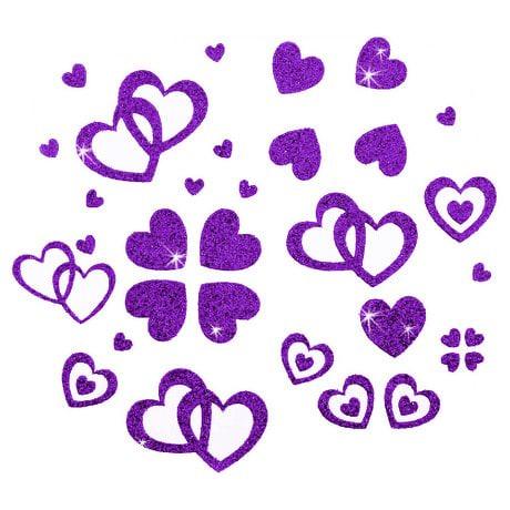 Herz Sticker Set Glitter Glitzernd - lila