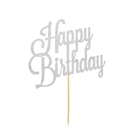 Torten Topper Kuchen Aufsatz Happy Birthday Geburtstag Deko - silber