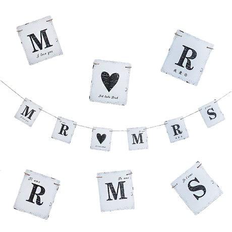 Mr & Mrs Hochzeit Girlande Ich Liebe Dich I love you - Vintage Look