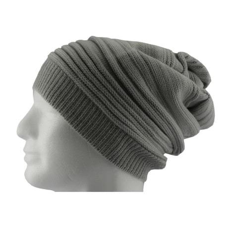 Long Beanie Mütze XXL Damen Herren Kinder Winter Mütze - light grey